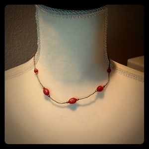 Sterling silver and red jasper necklace